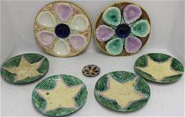 SEVEN PIECES OF 19TH CENTURY MAJOLICA TO INCLUDE