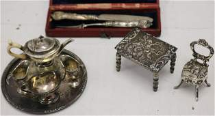 LARGE LOT OF MINIATURE STERLING SILVER ITEMS TO