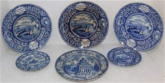 LOT OF SIX 19TH CENTURY BLUE AND WHITE
