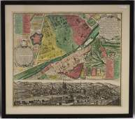 EARLY HAND COLORED MAP OF FLORENZFIERENZE LATE