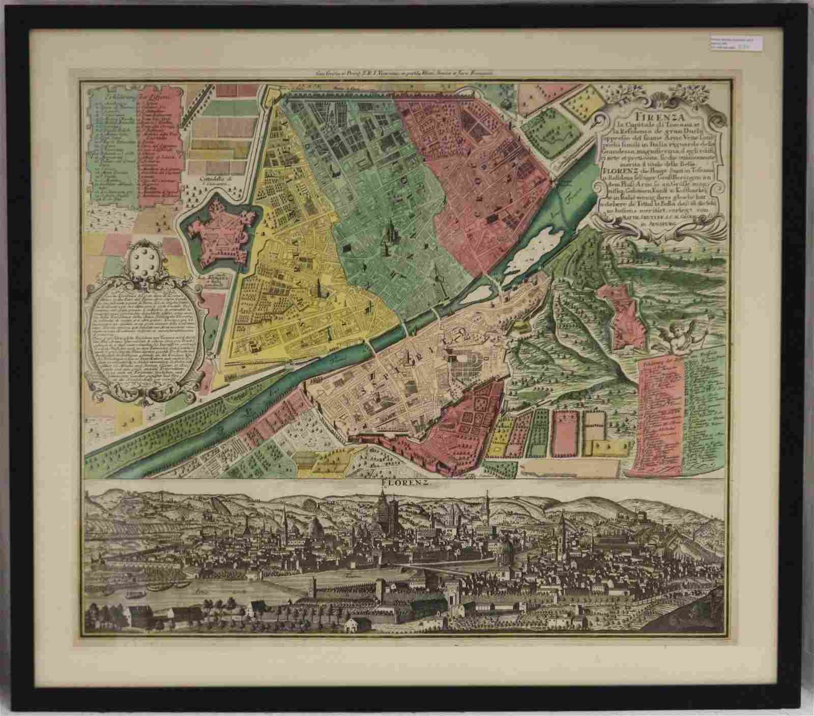 EARLY HAND COLORED MAP OF FLORENZ/FIERENZE. LATE