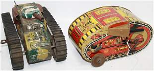 LOT OF 2 TIN LITHOGRAPH MARX WIND-UP TANK TOYS.