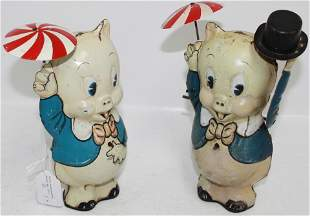 LOT OF 2 MARX TIN LITHOGRAPH PORKY PIG WIND-UP