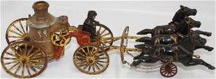 HUBLEY CAST IRON HORSE DRAWN FIRE WAGON, WITH