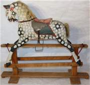 EARLY 20TH C ANTIQUE CARVED AND PAINTED DAPPLED