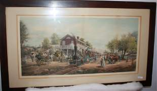 COLORED LITHOGRAPH DEPICTING A TRAIN ARRIVING AT