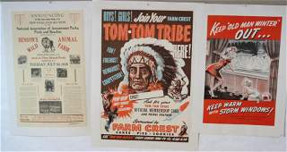 LOT OF 3 US LITHOGRAPH ADVERTISING POSTERS. TO