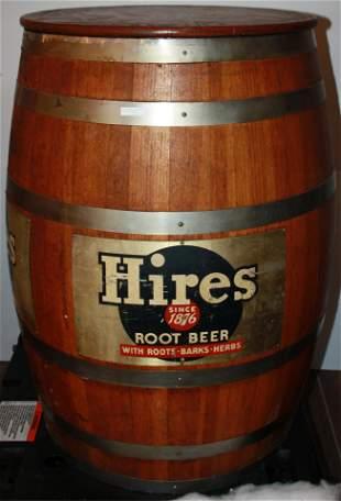 1950S HIRES ROOT BEER BARREL DISPENSER, OAK