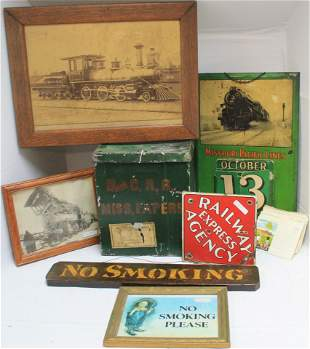 LARGE LOT OF 8 RAILROAD RELATED ITEMS, 20TH C. TO