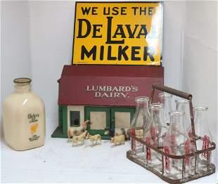DAIRY LOT, TO INCLUDE: 6 MILK GLASS MILK BOTTLES,