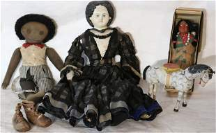 LOT OF 5 TOYS AND DOLLS. TO INCLUDE: CARVED AND