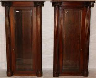 PAIR OF MAHOGANY CA. 1910 CABINETS, CARVED COLUMN