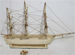 CA. 1900 WHALEBONE MODEL OF A 3 MASTED BARK.
