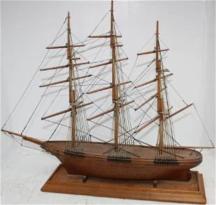 CA. 1920 HANDMADE WOODEN SHIP MODEL MADE AT
