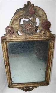 18TH CENTURY LOOKING GLASS. OLD POLYCHROME