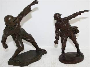 TWO SIMILAR EARLY 20TH CENTURY BRONZES DEPICTING