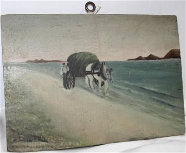 19TH CENTURY FOLK ART OIL PAINTING ON WOODEN