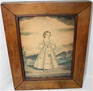 CA. 1830S WATERCOLOR OF A YOUNG GIRL HOLDING A