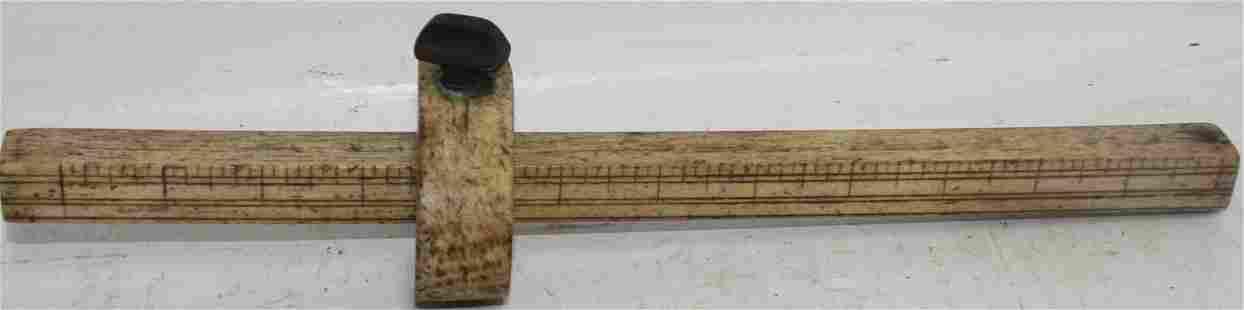 MID 19TH CENTURY SAILOR MADE WHALEBONE MEASURING