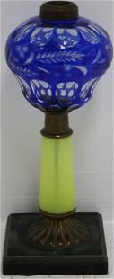 19TH CENTURY CUT OVERLAY FLUID LAMP WITH BLUE CUT