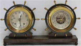 MID-20TH CENTURY CHELSEA BRONZE SHIP CLOCK AND