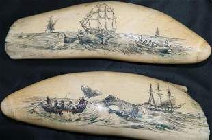 TWO SIMILAR EARLY 20TH CENTURY SCRIMSHAWED