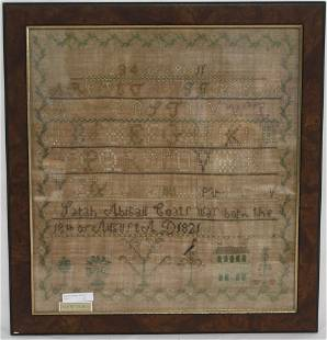 EARLY 19TH C. AMERICAN NEEDLEWORK SAMPLER WROUGHT