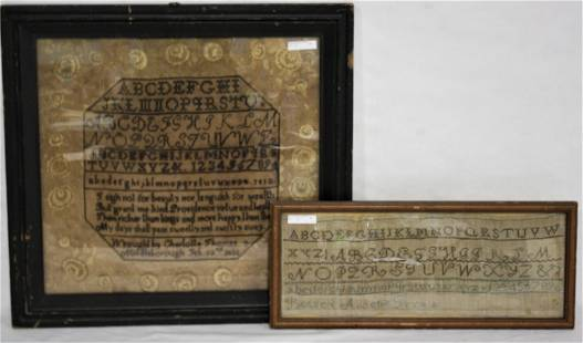 TWO AMERICAN NEEDLEWORK SAMPLERS, THE FIRST BEING