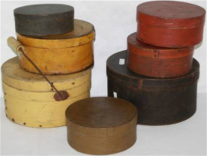 SEVEN 19TH CENTURY PAINTED AMERICAN PANTRY BOXES.