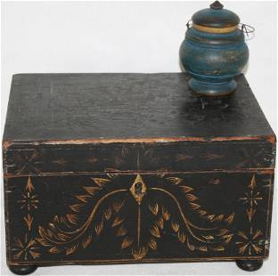 LATE 18TH CENTURY AMERICAN PAINTED PINE SEWING
