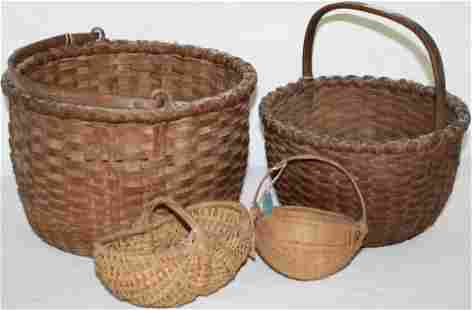 LOT OF FOUR 19TH CENTURY AMERICAN BASKETS. TO