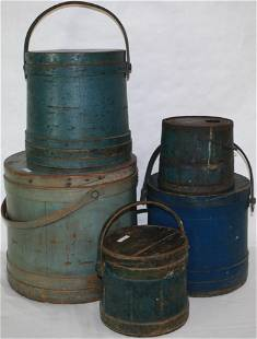 LOT OF FOUR 19TH CENTURY PAINTED FIRKINS, AND ONE