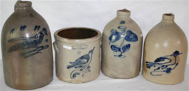 LOT OF FOUR 19TH C. DECORATED STONEWARE