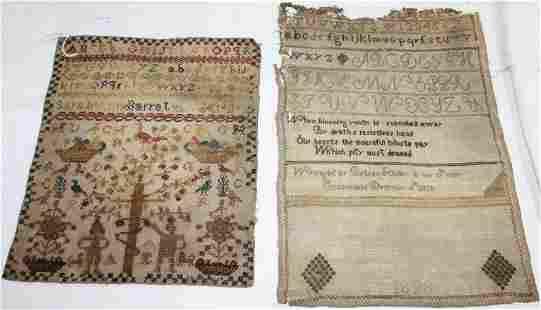 TWO UNFRAMED AMERICAN NEEDLEWORK SAMPLERS, 19TH