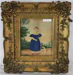 EARLY 19TH C. FOLK ART WATERCOLOR, DEPICTING A
