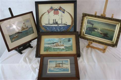 5 LATE 19TH / EARLY 20TH C. NAVAL IMAGES. TO