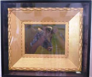 SHADOWBOX FRAMED OIL PAINTING ON BOARD,