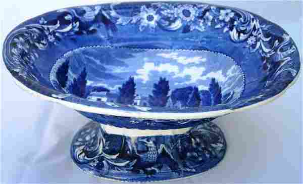 HISTORICAL BLUE STAFFORDSHIRE FOOTED COMPOTE