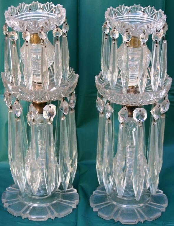 15: PAIR OF MID-19TH CENTURY CUT GLASS CANDLE LUSTRES,
