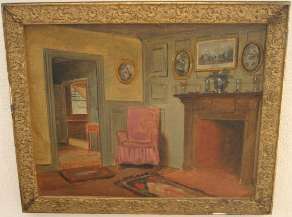 19: FRAMED OIL PAINTING ON BOARD, PAINTED BEFORE 1828
