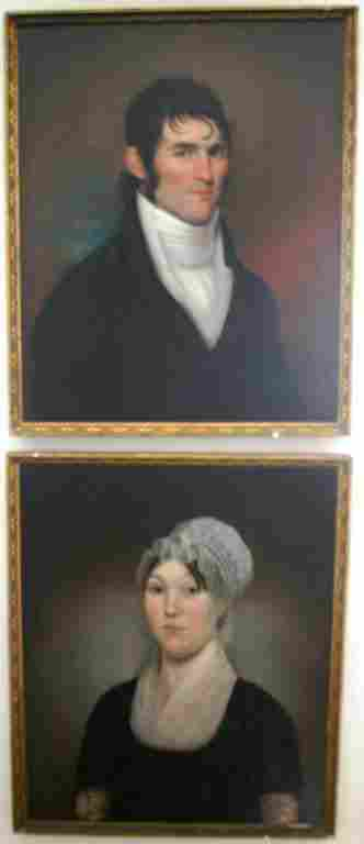 FRAMED PAIR OF OIL PAINTINGS ON CANVAS, 1806 BY