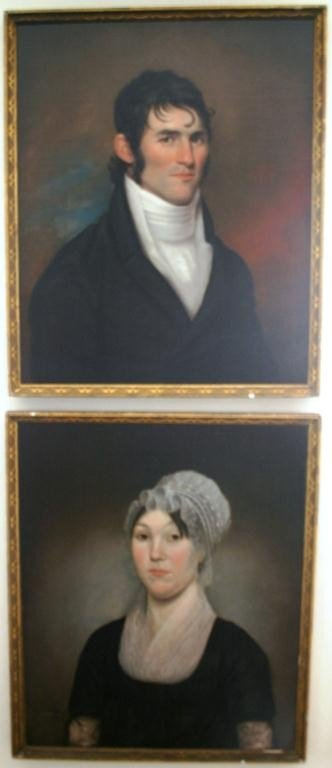 20: FRAMED PAIR OF OIL PAINTINGS ON CANVAS, 1806 BY