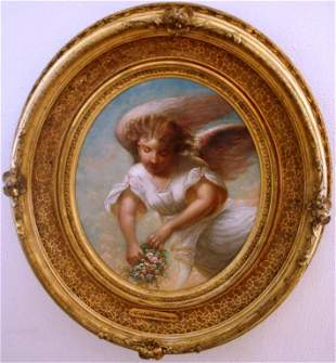 FRAMED OVAL OIL PAINTING ON CANVAS, 1870 BY