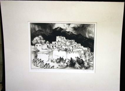 20TH CENTURY ETCHING BY GENE KLASS TITLED