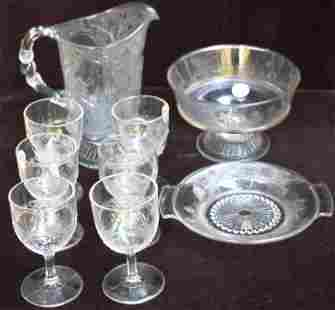 NINE PIECES OF LATE 19TH CENTURY PATTERN GLASS