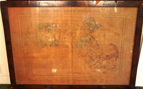 FRAMED AND GLAZED MAP OF MASSACHUSETTS,