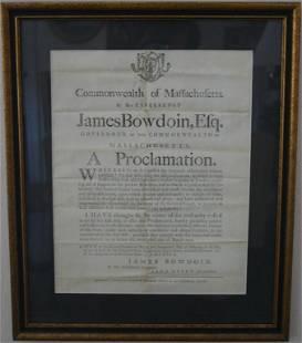 FRAMED AND GLAZED PROCLAMATION BY JAMES BOWDOIN,