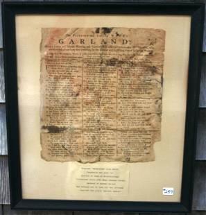 FRAMED AND GLAZED BROADSIDE FROM 1790 - ZEBEDEE