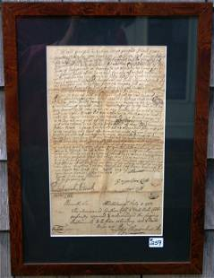 FRAMED AND GLAZED HAND WRITTEN DEED FROM