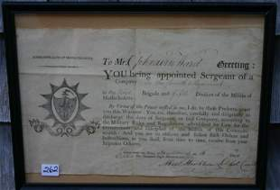 FRAMED AND GLAZED COMMISSION DOCUMENT DATED
